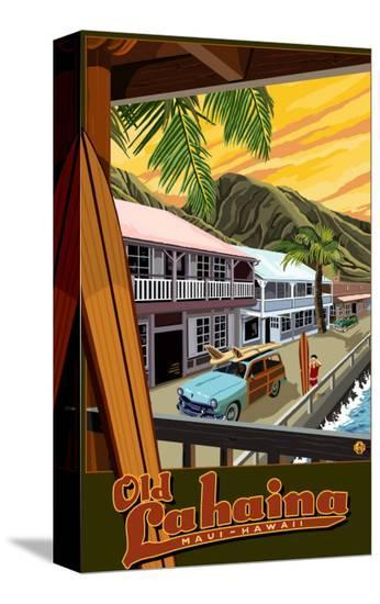 Old Lahaina Fishing Town with Surfer, Maui, Hawaii-Lantern Press-Stretched Canvas Print