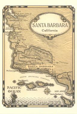 Old Map of Santa Barbara, California