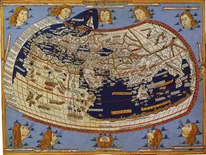 Old Map of the World Ptolemaic World, 1482