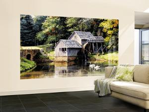Old Mill With Weathered Wood Mill Huge Mural Art Print Poster