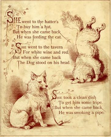 Old Mother Hubbard: Dog Standing Head and Smoking Pipe