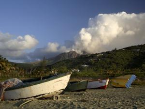 Old Road Bay Beach and Volcano, Montserrat, Leeward Islands, Caribbean, Central America by G Richardson