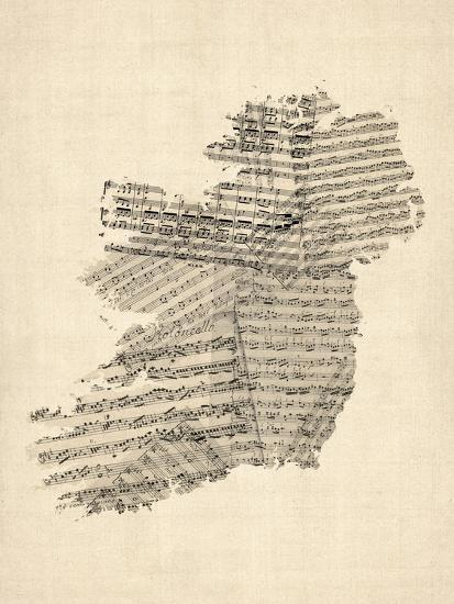 Old Sheet Music Map of Ireland Map-Michael Tompsett-Stretched Canvas Print