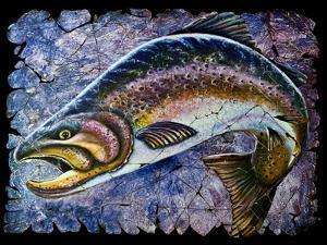 Vintage Blue Trout Fresco by Olena Art