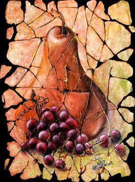Vintage Pear And Grapes Fresco by Olena Art