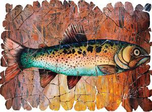 Vintage Red Trout Fresco by Olena Art