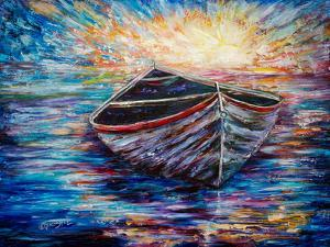 Wooden Boat At Sunrise by Olena Art