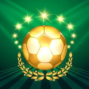 A Golden Soccer Ball with Laurel Wreath Against Shining Stars and Green by Olena Bogadereva