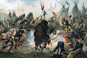 Oleograph of a Sioux War Dance, C1890