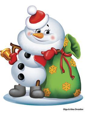 Snowman with a Bag of Gifts by Olga And Alexey Drozdov