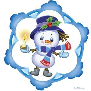 Snowman with Candle by Olga And Alexey Drozdov
