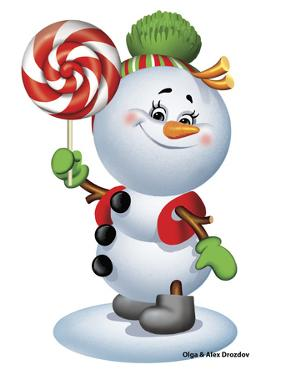 Snowman with Candy by Olga And Alexey Drozdov
