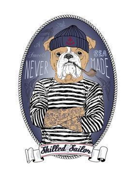 Bulldog Sailor with Tattoo by Olga Angellos