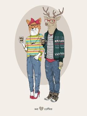 Fox Girl and Deer Boy Hipsters by Olga Angellos