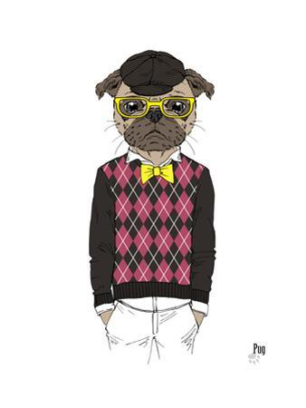 Pug in Hipster Style by Olga Angellos