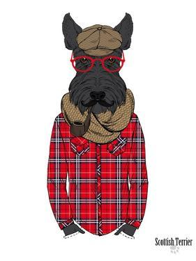 Scottish Terrier in Pin Plaid Shirt by Olga Angellos
