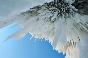 Icicles - Ice Stalactites Hanging From Cave Ceiling, Lake Baikal, Siberia, Russia, March by Olga Kamenskaya