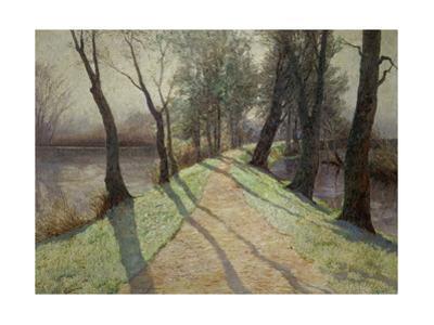 Der erste Reif - The first frost, around 1900. Oil on canvas, 114 x 156 cm. by Olga Wisinger-Florian