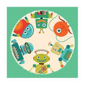 Vector Retro Robots Card Illustration by OliaFedorovsky