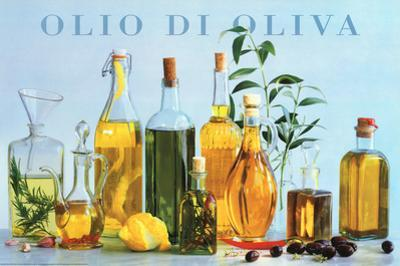 Olio di Oliva (Olive Oil Bottles) Art Poster Print