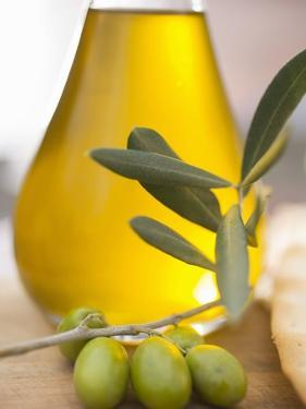 Olive Oil and Olive Sprig with Green Olives