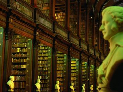 Bust in Longroom of Old Library in Trinity College, Dublin, Leinster, Ireland by Oliver Strewe