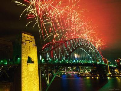 Fireworks over Sydney Harbour Bridge, New Year's Eve, Sydney, New South Wales, Australia