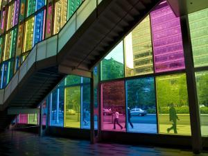 Coloured Glass Panels of Palais Des Congres by Olivier Cirendini