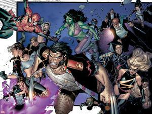 House Of M No.6 Group: Wolverine, She-Hulk, Spider-Man and Warbird by Olivier Coipel