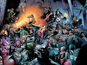 House Of M No.7 Group: Spider-Man, Luke Cage, Storm, Wolverine, She-Hulk and Cyclops Fighting by Olivier Coipel