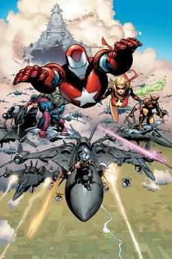 Siege No.1 Group: Iron Patriot, Hawkeye, Ms. Marvel, Wolverine, Spider-Man and Ares by Olivier Coipel