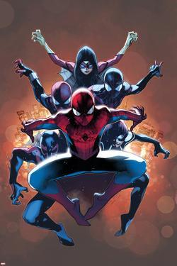 The Amazing Spider-Man No. 9 Cover, Featuring: Spider-Man, Spider Woman, Spider-Girl and More by Olivier Coipel