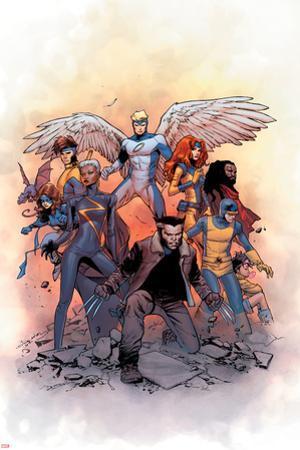 X-Men: Gold #1 Cover: Lockheed, Shadowcat, Storm, Angel, Grey, Jean, Bishop, Cyclops, Jubilee