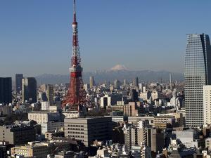 Tokyo Tower, City Skyline and Mount Fuji Beyond, Tokyo, Japan, Asia by Olivier Goujon