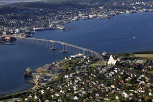 Tromso River and Tromso Including the Cathedral from Top of Tromsoya City Center of Tromso by Olivier Goujon
