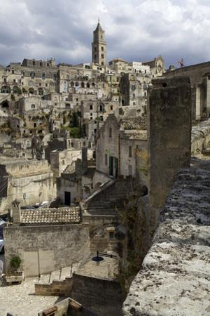 View of the Duomo and the Sassi of Matera, from the Cliffside, Basilicata, Italy, Europe