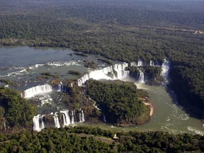 View Over the Iguassu Falls From a Helicopter, Brazil, South America