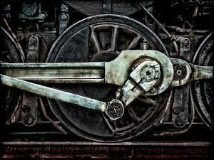 Grunge Old Steam Locomotive Wheel and Rods by Olivier Le Queinec