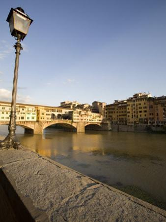 Along the Arno River and the Ponte Vecchio, Florence, Tuscany, Italy, Europe