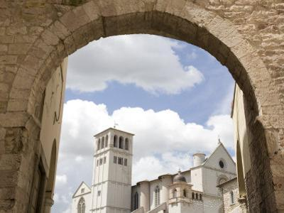 New Gate Assisi and View of the Franciscan Basilica, Assisi, Umbria, Italy
