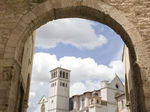 New Gate Assisi and View of the Franciscan Basilica, Assisi, Umbria, Italy by Olivieri Oliviero