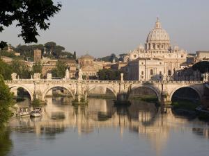 View of the S. Angelo Bridge on the Tiber River, Rome, Lazio, Italy, Europe by Olivieri Oliviero