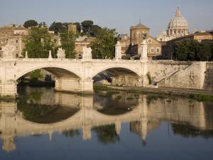 View of Vittorio Emanuele II Bridge, with St. Peters Dome, Rome, Lazio, Italy, Europe by Olivieri Oliviero