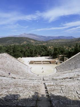 Ancient Greek Theatre, Epidaurus, Unesco World Heritage Site, Peloponnese, Greece, Europe by Oliviero Olivieri