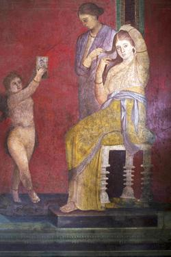 The Baccantis before the Feast in the Triclinium in the Villa Dei Misteri, Pompeii, Campania, Italy by Oliviero Olivieri