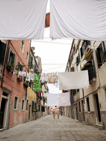 Washing Line Geometry in the Streets of Castello, Venice, Veneto, Italy, Europe by Oliviero Olivieri