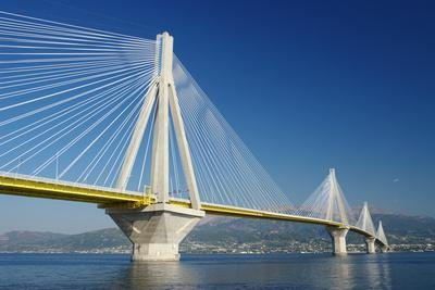 Suspension Bridge Crossing Corinth Gulf Strait, Greece. is the World's Second Longest Cable-Stayed
