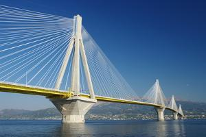 Suspension Bridge Crossing Corinth Gulf Strait, Greece. is the World's Second Longest Cable-Stayed by ollirg