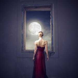 Beautiful Woman Observing the Moon from a Window by olly2