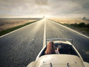 Beautiful Woman Traveling on a Vintage Car by olly2